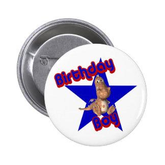 Birthday Boy Friendly Dinosaur Cute Button