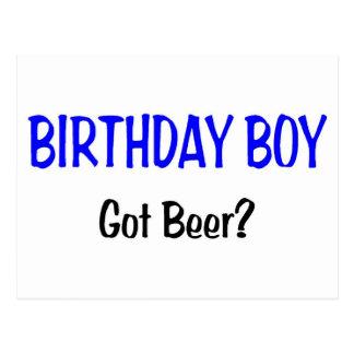 Birthday Boy Got Beer Blue Postcard