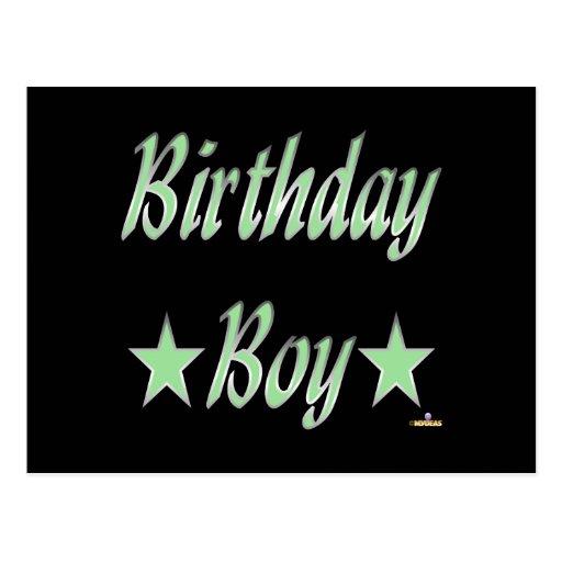 Birthday Boy Green Stars Postcards