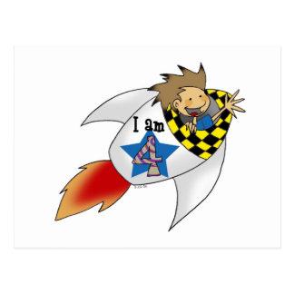 Birthday boy in a rocket postcard