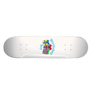 Birthday boy in blue with presents skate deck