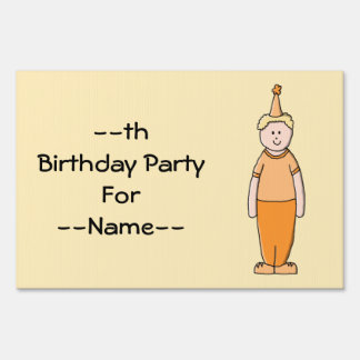 Birthday Boy, in Orange. Yard Sign