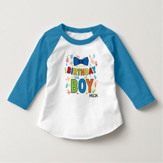 Birthday Boy kids party shirt Bow Tie and confetti