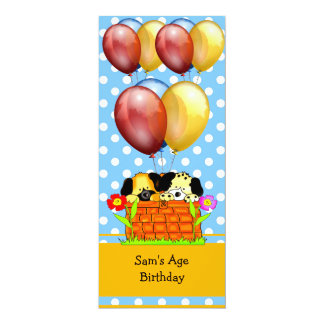 Birthday Boy or Girl Dogs Balloons Blue Yellow 4x9.25 Paper Invitation Card