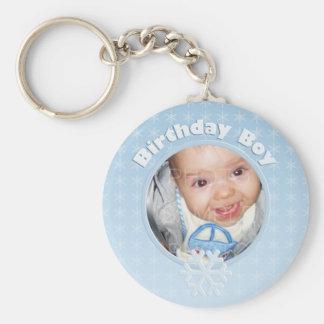 Birthday Boy Photo Winter Onederland Basic Round Button Keychain