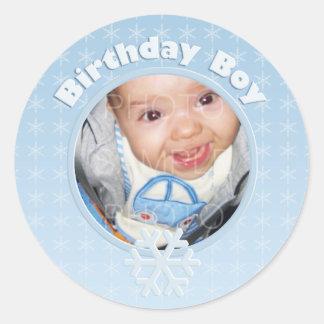 Birthday Boy Photo Winter Onederland Round Sticker