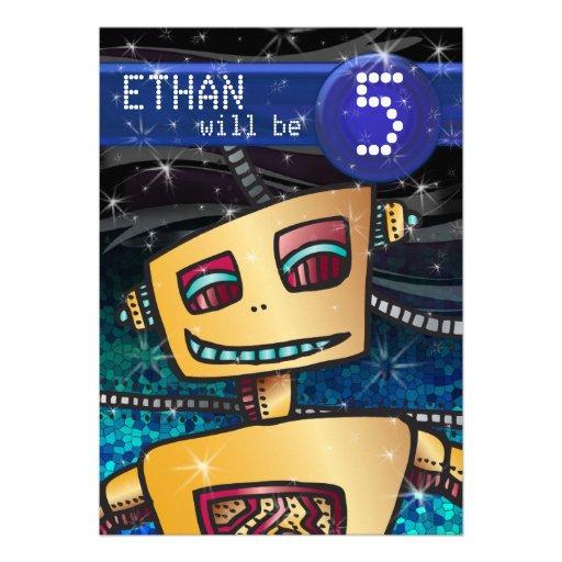 Birthday Boy Robot Comic Book Hero Space SciFi Invitation