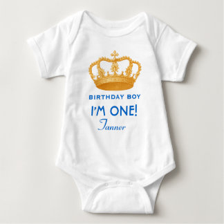 Birthday Boy Royal Prince Crown One Year Old A06 Baby Bodysuit