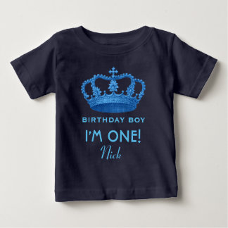 Birthday Boy Royal Prince Crown One Year Old V079 Baby T-Shirt