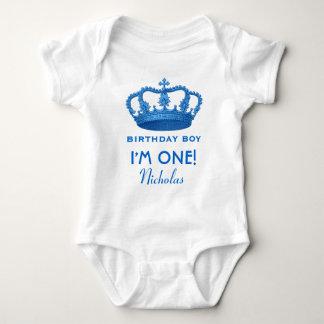 Birthday Boy Royal Prince Crown One Year Old V07 Baby Bodysuit