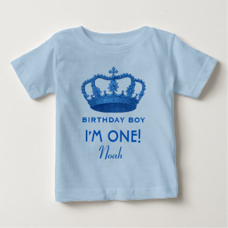 Birthday Boy Royal Prince Crown One Year Old V07N Baby T-Shirt