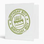 Birthday Boy -rubber stamp effect- green Binder