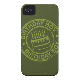 Birthday Boy -rubber stamp effect- green iPhone 4 Case-Mate Cases