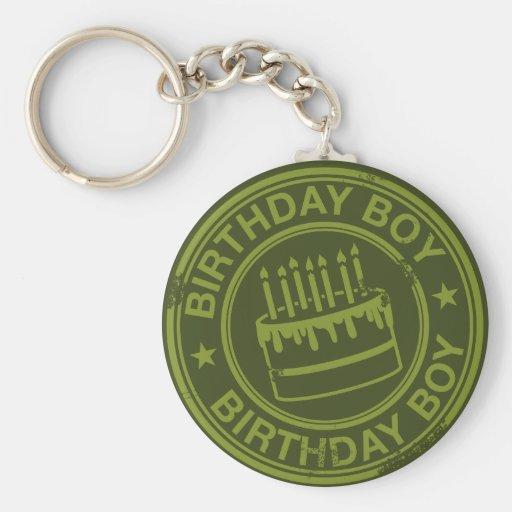 Birthday Boy -rubber stamp effect- green Basic Round Button Keychain