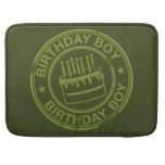 Birthday Boy -rubber stamp effect- green Sleeves For MacBook Pro