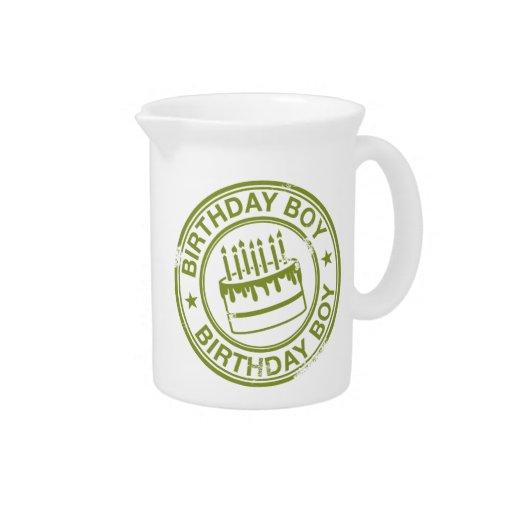 Birthday Boy -rubber stamp effect- green Beverage Pitchers