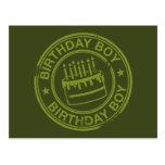 Birthday Boy -rubber stamp effect- green Post Card