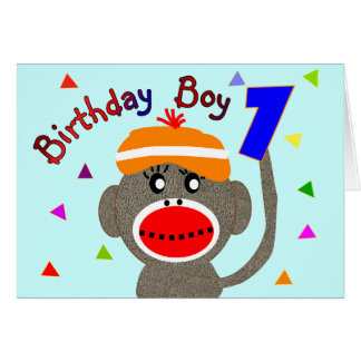 Birthday BOY Sock monkey 1 year old Card