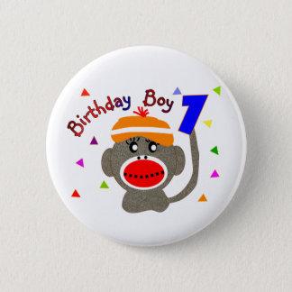 Birthday BOY Sock monkey 1 year old Pinback Button