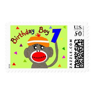 Birthday BOY Sock monkey 1 year old Postage