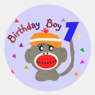 Birthday BOY Sock monkey 1 year old Round Sticker