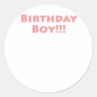 Birthday Boy Round Stickers