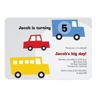 Birthday Boy Toys Colorful Cars Trains Bus Trucks Card
