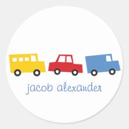 Birthday Boy Toys Colorful Cars Trains Bus Trucks Classic Round Sticker