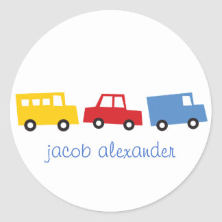 Birthday Boy Toys Colorful Cars Trains Bus Trucks Classic Round Sticker