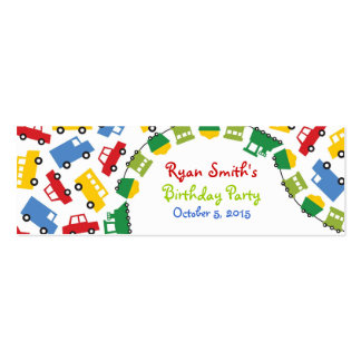 Birthday Boy Toys Colorful Cars Trains Bus Trucks Double-Sided Mini Business Cards (Pack Of 20)