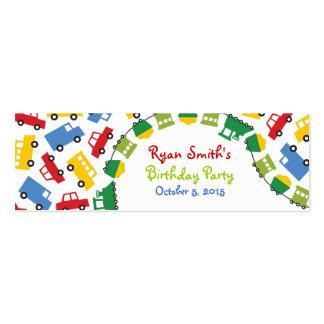 Birthday Boy Toys Colorful Cars Trains Bus Trucks Mini Business Card