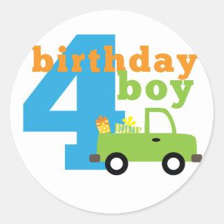 Birthday Boy Truck 4 Classic Round Sticker