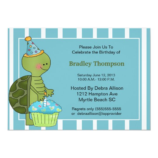 Birthday Boy Turtle Invitation