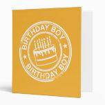 Birthday Boy -white rubber stamp effect- Binders