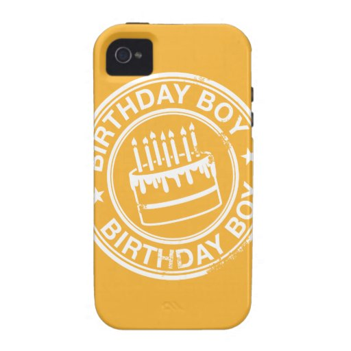 Birthday Boy -white rubber stamp effect- Case-Mate iPhone 4 Covers