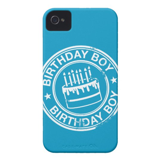 Birthday Boy -white rubber stamp effect- Case-Mate iPhone 4 Case