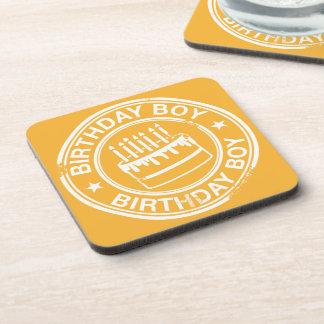 Birthday Boy -white rubber stamp effect- Coaster