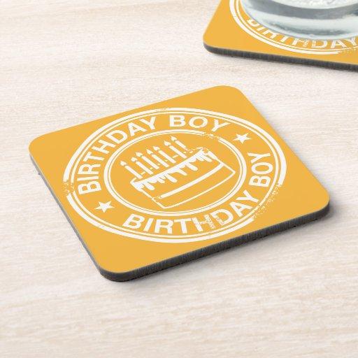 Birthday Boy -white rubber stamp effect- Beverage Coaster