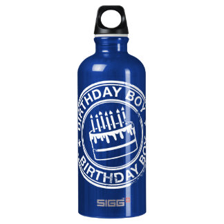 Birthday Boy -white rubber stamp effect- Water Bottle