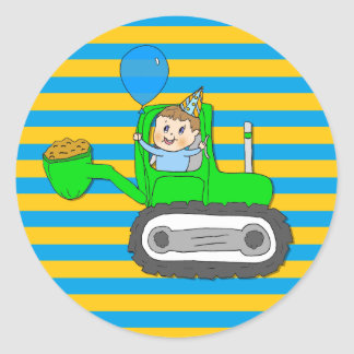 Birthday Boy with Balloon in Tractor Classic Round Sticker