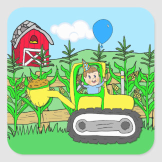 Birthday Boy with Balloon in Tractor Square Sticker