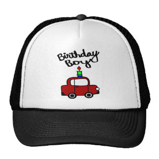 Birthday Boy With Candle And Red Car Mesh Hats