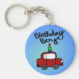 Birthday Boy With Candle And Red Car Keychain