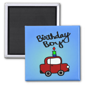Birthday Boy With Candle And Red Car Fridge Magnets