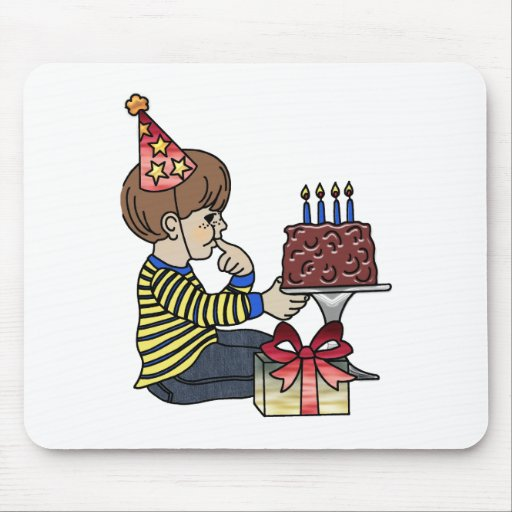 Birthday Boy with Chocolate Cake Mouse Pads
