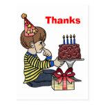 Birthday Boy with Chocolate Cake Post Card