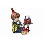 Birthday Boy with Chocolate Cake Post Cards