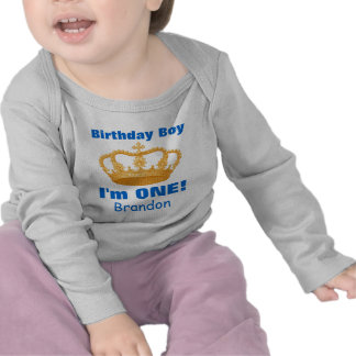 Birthday Boy with Crown I'm ONE! Custom Name V02N Tee Shirts