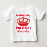 Birthday Boy with Crown I'm ONE! Custom Name V03N Shirt