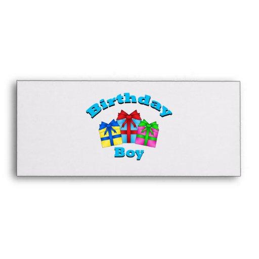Birthday boy with presents envelopes